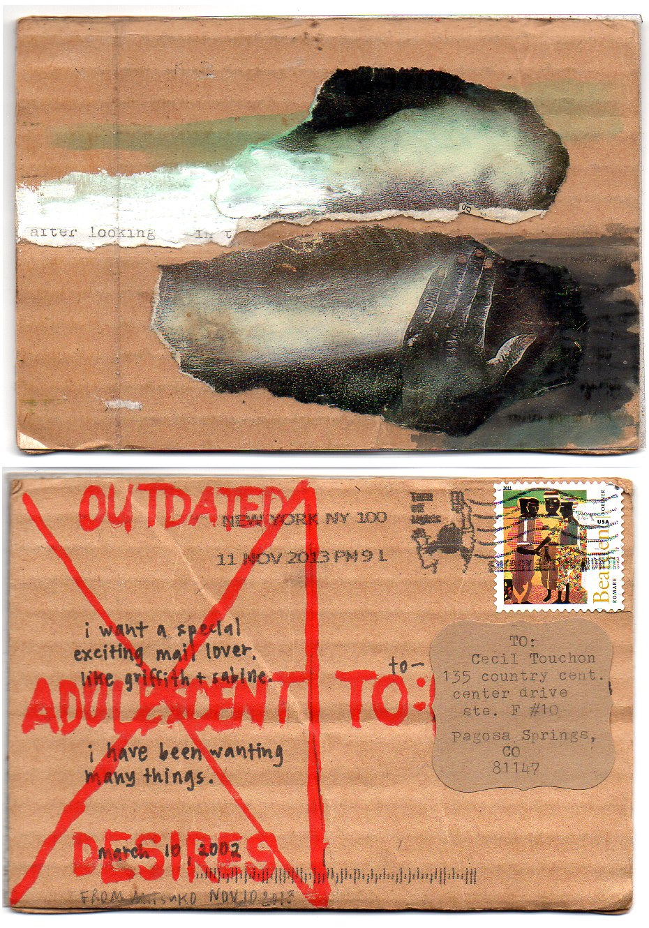 OM.2013.077 | Mitsuko | USA | postcard made of cardboard with collage elements