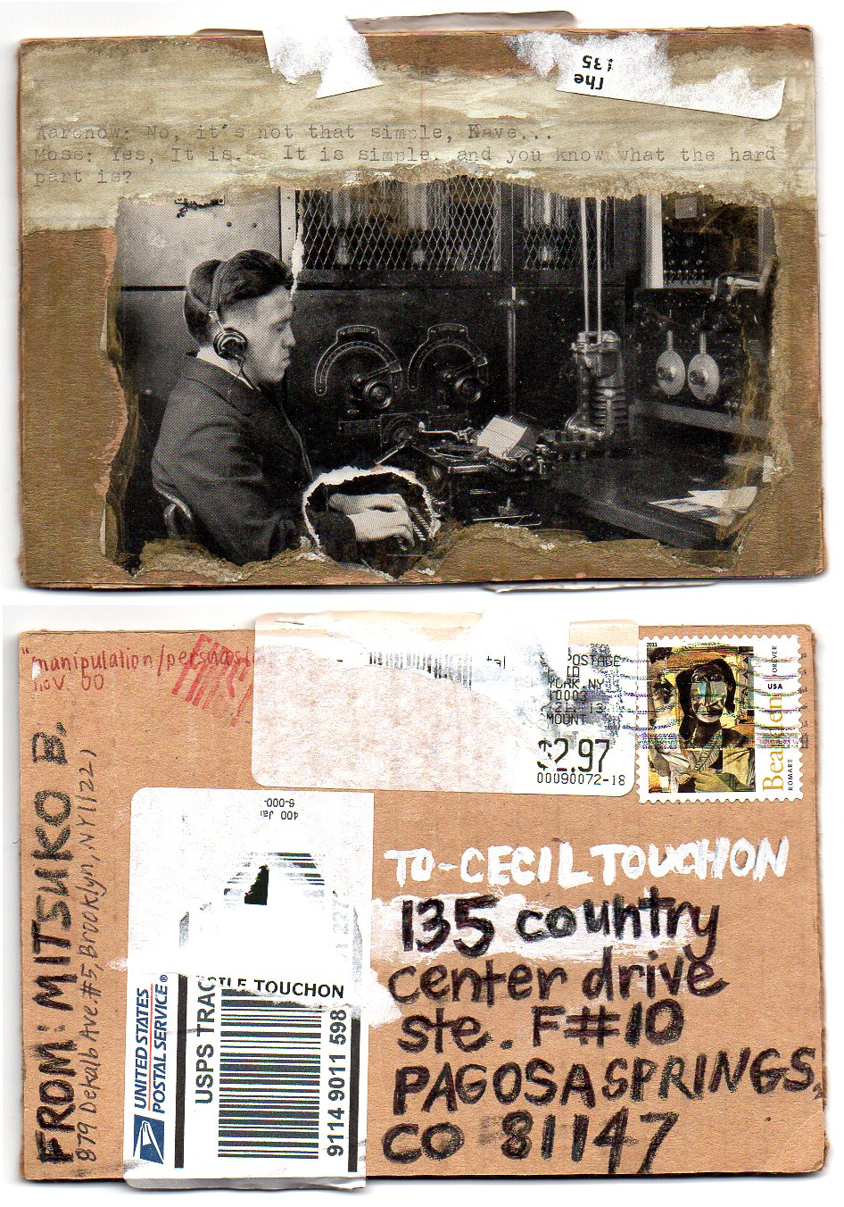 OM.2013.081   Mitsuko Brooks   USA   postcard on book board and collage elements