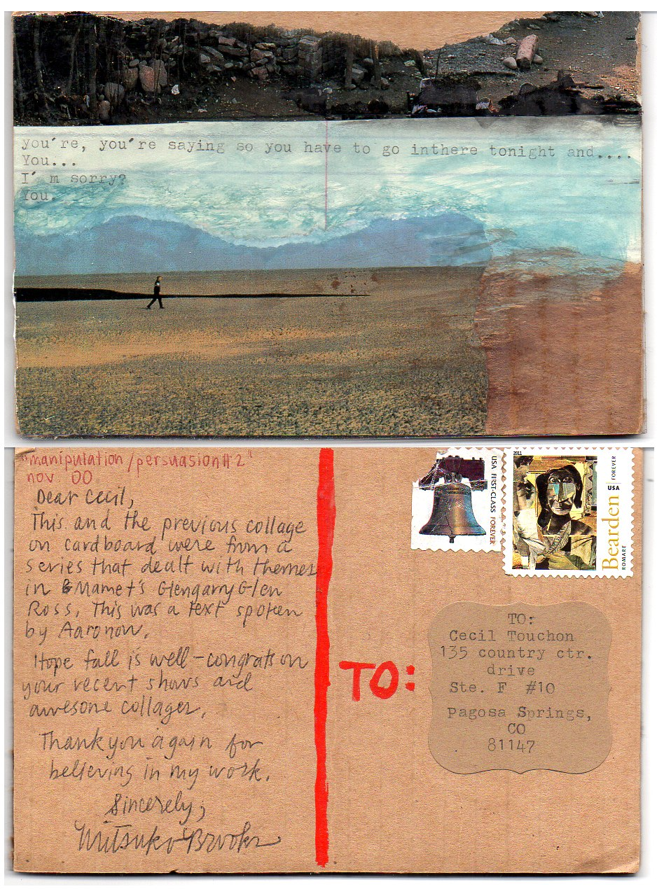 OM.2013.082 | Mitsuko Brooks | USA | postcard on cardboard and collage elements