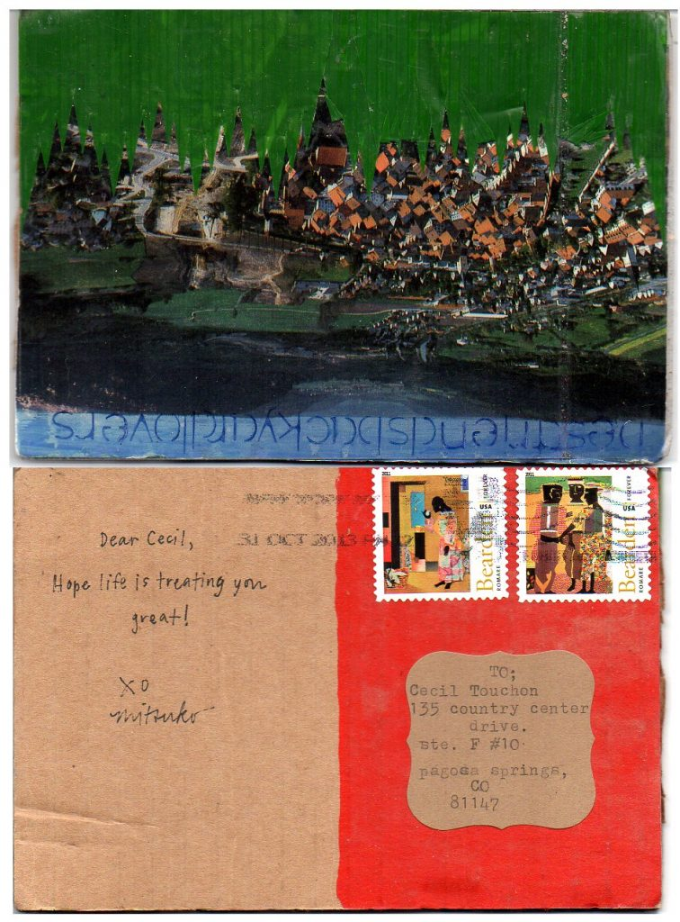 OM.2013.080 | Mitsuko Brooks | USA | postcard made of cardboard with collage elements